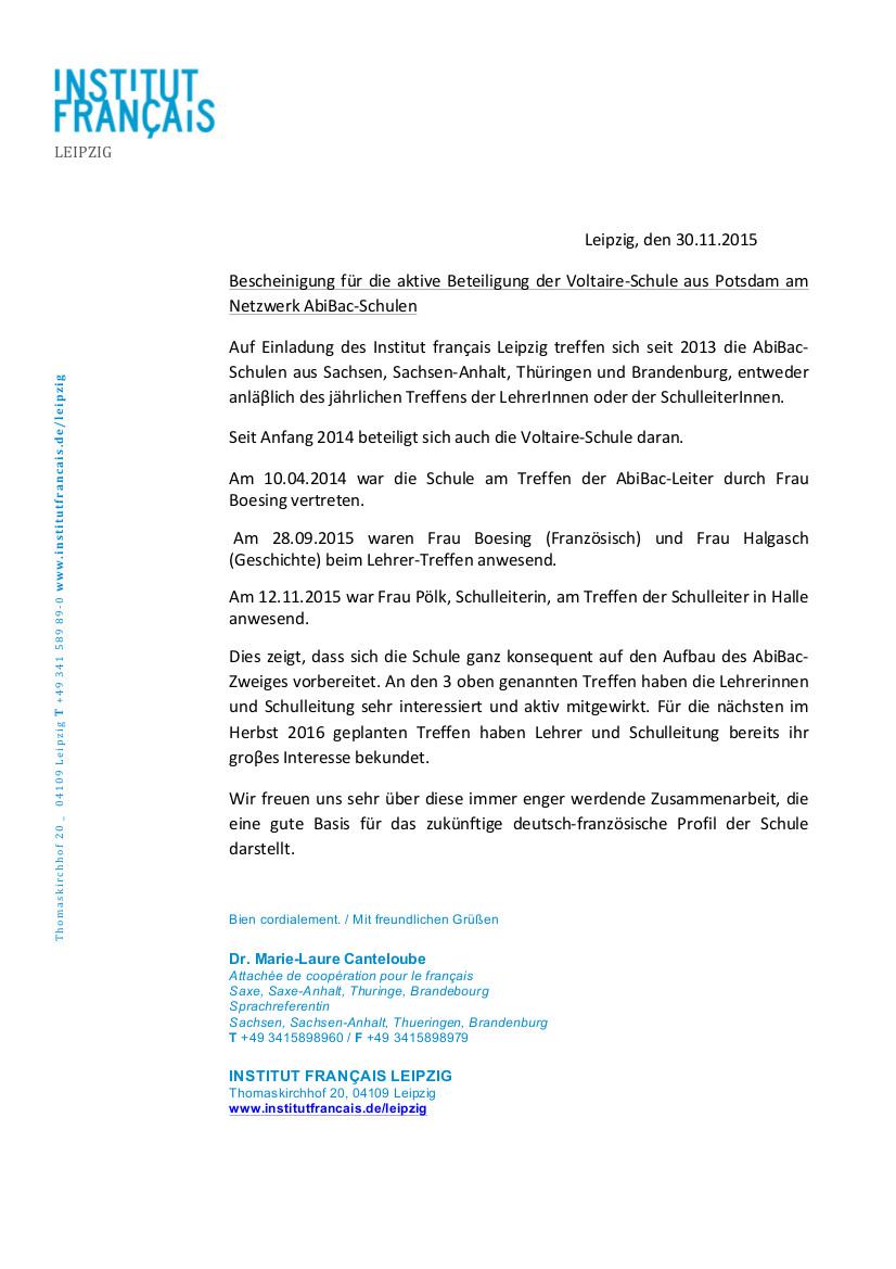 Leipzig Den 30112015 Bescheinigung Für Die Aktive Beteiligung Der